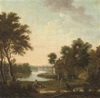 a wooded river landscape with a shepherd and his flock and a couple by a hamlet by peter tillemans
