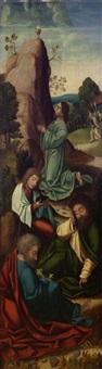 le christ au jardin des oliviers et la multiplication des pains et des poissons (pair) by antwerp school