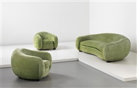 ours polaire sofa and pair of armchairs (3 works) by jean royère