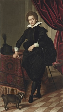 portrait of a gentleman in black doublet mantle and pantaloons by jacopo da empoli chimenti