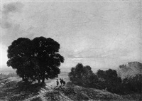 paysage au soleil couchant by jean-antoine-simeon fort