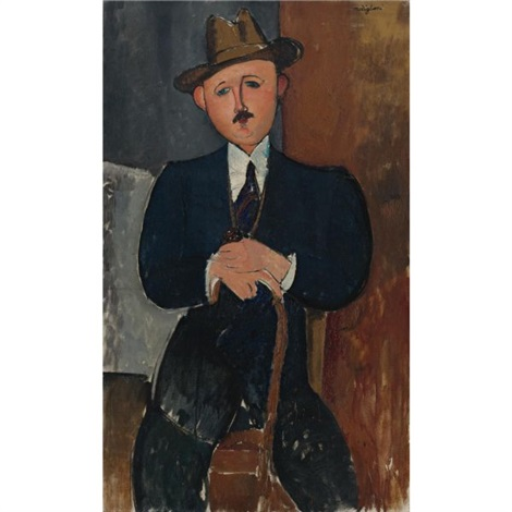 homme assis appuyé sur une canne by amedeo modigliani