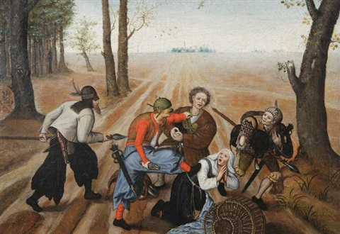 attaque sur un couple de paysans by pieter brueghel the younger
