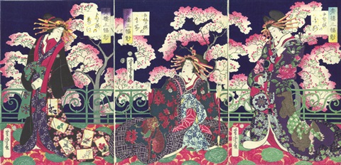 three courtesans from the house of goseirō (from three scrolls from green houses (seirō sanpukutsui)) (ôban triptych) by utagawa yoshitora
