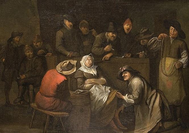 schlafende frau von männern umringt by egbert van heemskerck the elder