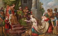 die königin von saba vor könig salomo by kaspar (jasper) van den hoecke