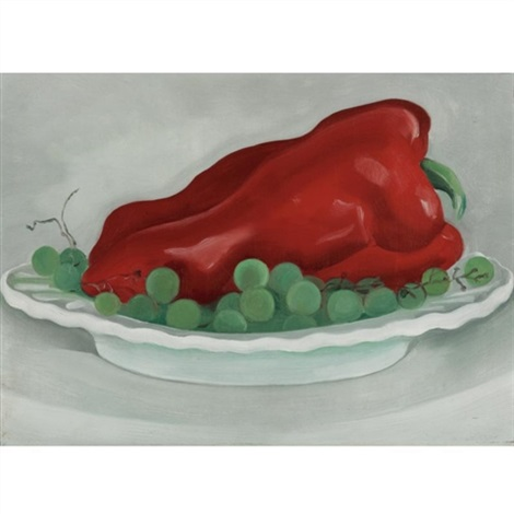 red pepper, green grapes by georgia o'keeffe