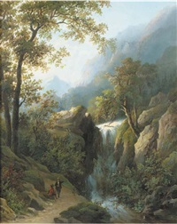 travellers by a waterfall by cristianus hendricus de swart