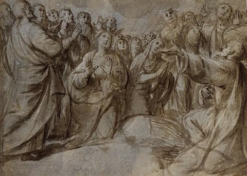 standing and kneeling figures for an assumption by giovanni francesco lampugnani