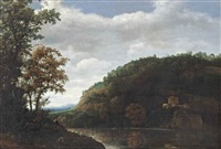 a mountainous river landscape with a shepherd in the left foreground and a temple on the opposite river bank by cornelis hendriksz vroom