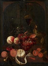 nature morte aux raisins, pêches, oranges, et citrons, roehmer et verre façon de venise dans une niche by martinus nellius