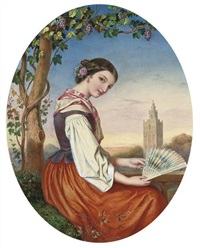 portrait of a girl with a fan in her hand, a tower beyond by augustus jules bouvier