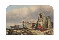 fisherfolk on a beach by edward william cooke