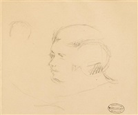 sketch of a head; head studies (2 works) by mary cassatt