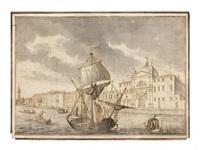 navire marchand et gondoles devant l'église des zitelle sur l'île de la giudecca, venise by francesco tironi