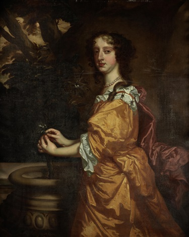 portrait of elizabeth countess of northumberland 1646 1690 three quarter length standing beside a stone urn in a gold dress and holding a flower by sir peter lely