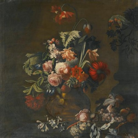 still life of roses, variegated tulips, peonies and other flowers in a sculpted vase, together with grapes and a macaw by simon pietersz verelst