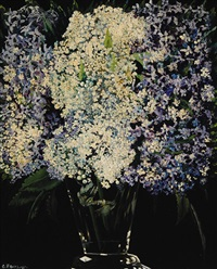bouquet with lilac tree and rowanberry by charley toorop