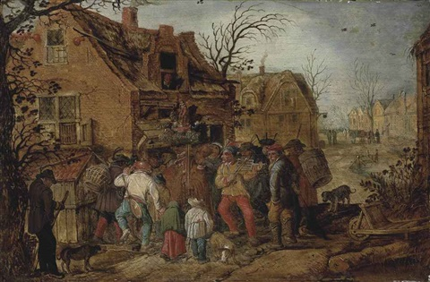 a village kermesse with figures outside an inn by david vinckboons
