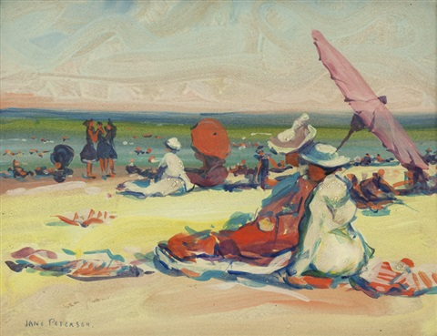 figures and umbrellas on a beach by jane peterson