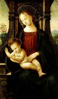 madonna and child enthroned in a landscape by raffaelino del garbo