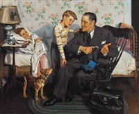 doctor on house call showing a boy the otoscope by harold n. anderson