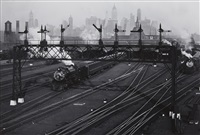 hoboken railroad yards looking towards manhattan, new jersey by berenice abbott
