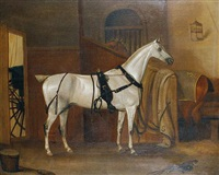 horses in a stable by thomas weaver