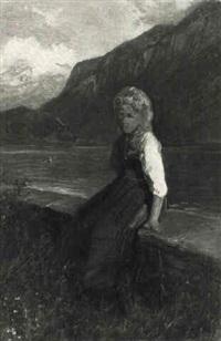 jeune fille au bord d'un lac by gustave adolf jundt