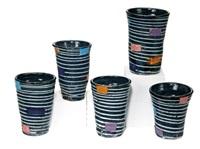 sake cups (5) by jun kaneko