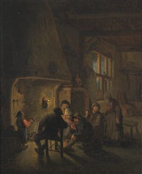 a tavern interior with figures gathered around a fire by bartholomeus molenaer