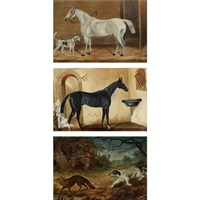 a grey horse and hound (+ 2 others; 3 works) by e. smith