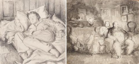 hilda reclining (+ 17 others, 4 pen and ink; 18 works) by harold hope read