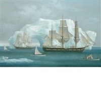 the nantucket whale ship constitution in the bearing sea by louis dodd