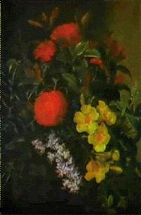blomsterstilleben med rod ixora, gul allamanda og orkidegren by augusta princess of hesse-cassel