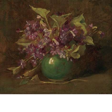 violets in a green vase by julian alden weir