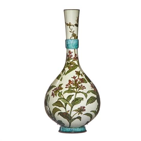 Tall Bulbous Vase With Milkweed On White Ground By John Bennett On