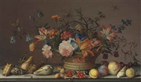 parrot tulips, carnations, columbine, marigolds and other flowers in a woven basket, with shells, peaches, cherries, cranberries... by balthasar van der ast