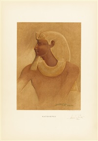 portraits of the tothmes family facsimiled from the temple of deir el bahari (portfolio of 6) by howard carter