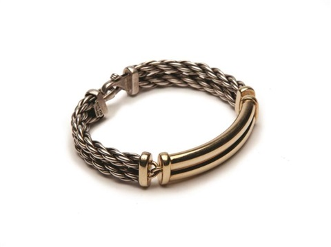 David Yurman Sterling And Gold Id Bracelet By
