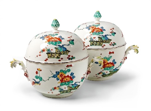 a rare pair of circular meissen tureens and covers