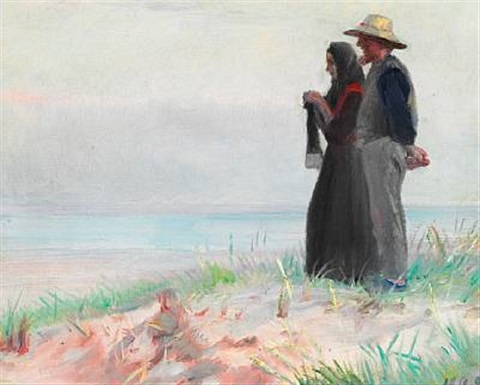 a couple from skagen on the beach by michael peter ancher