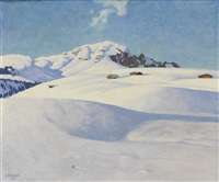 winterlandschaft in den bergen by plinio colombi