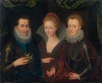 trois personnages, l'un tenant un ordre by françois quesnel