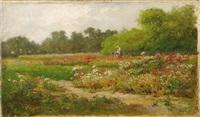 femme à l'ombrelle dans un champs de coquelicots by american school (19)