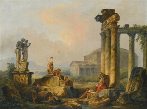 a landscape with shepherds and shepherdesses among ancient ruins with the statue of castor and pollux and the pantheon beyond by hubert robert