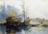 lavandière en bord de rivière by maurice dainville