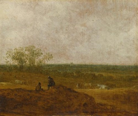 figures and cattle in a landscape by jan josefsz van goyen