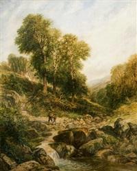 paesaggio collinare con viandanti presso un ruscello by henry harris lines