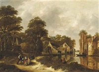 a wooded river landscape with travellers resting on a track and anglers on the bank, a village beyond by klaes molenaer